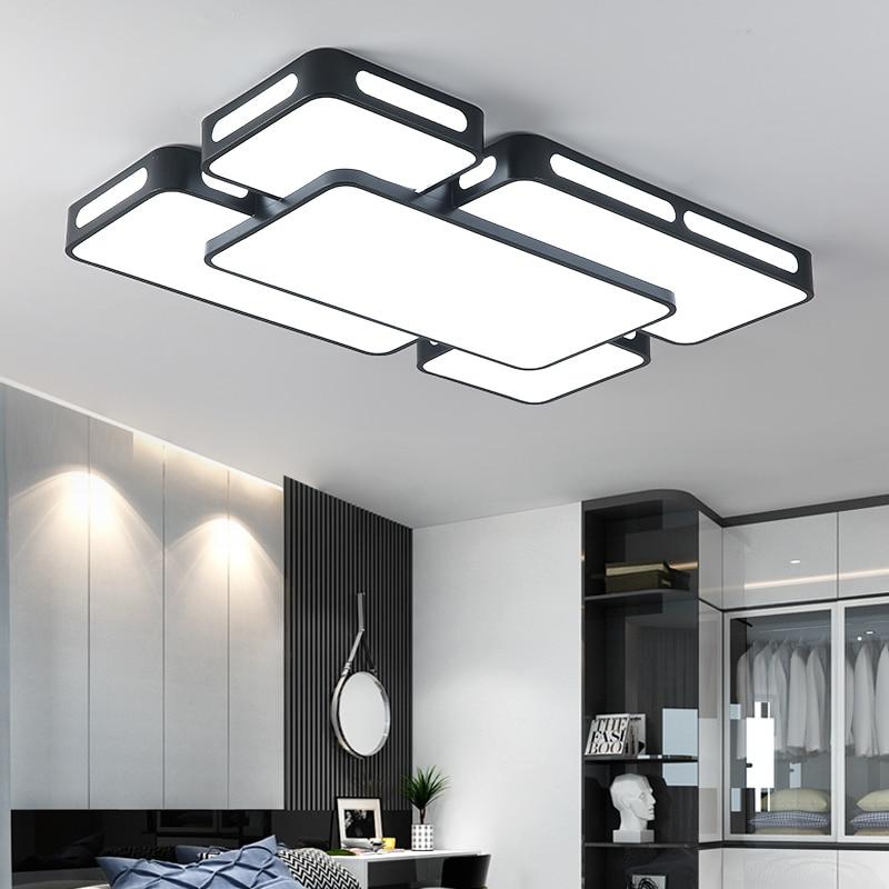 Простые современные светодио дный потолочные светильники для Гостиная Спальня потолочные светильники черный/белый Освещение в помещении