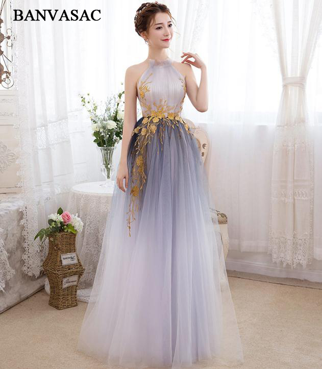BANVASAC 2018 Halter Gold Lace Appliques A Line Long   Evening     Dresses   Party Off The Shoulder Tulle Backless Prom Gowns
