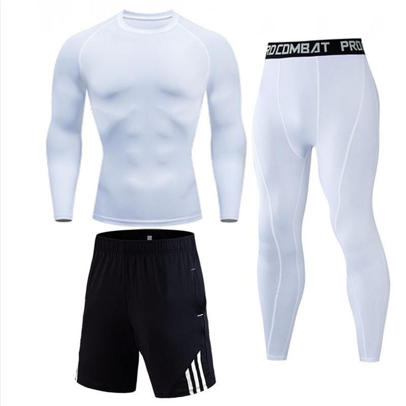 Men's Thermal underwear Gym jogging suit rash guard male Sports suits 2019 brand Men Tracksuit Compressed MMA crossfit shirt(China)