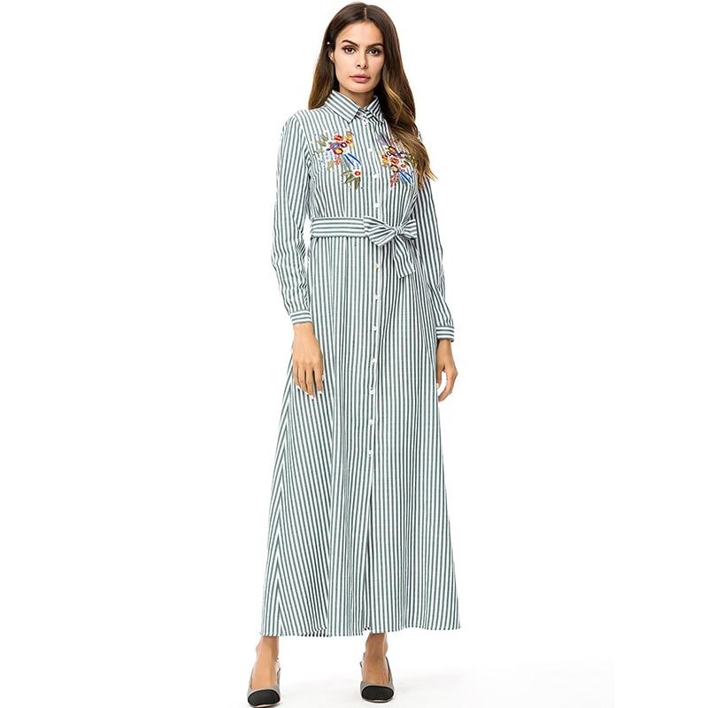 Floral Plus Size Embroidery Maxi Women Shirt Dress Long Sleeve Str...