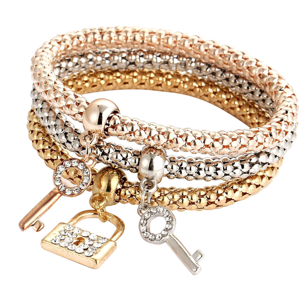 New Charm Women Bracelet Gold Silver Rose Gold Wristband Rhinestone Bangle Jewelry Fashion Wristlet Ornaments 3 In One Bracelets