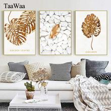 TAAWAA Golden Leaves Wall Art Minimalist leaf Posters and Prints Nordic Style Picture For Living Room Decoration Home Decor