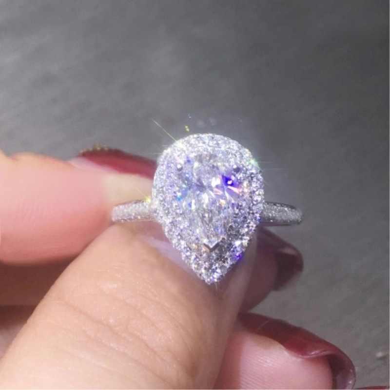 Authentic 925 prata grande anel de lágrima radiante com cz claro para presente feminino diy moda jóias por atacado lotes a granel