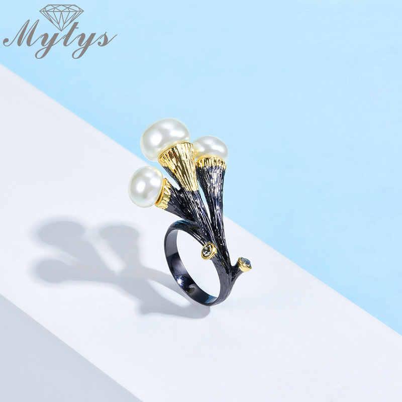 Mytys, Винтажное кольцо с цветком и жемчужиной для женщин, черный пистолет, ретро, массивное кольцо, антикварное ювелирное изделие, новое готическое модное кольцо R2138