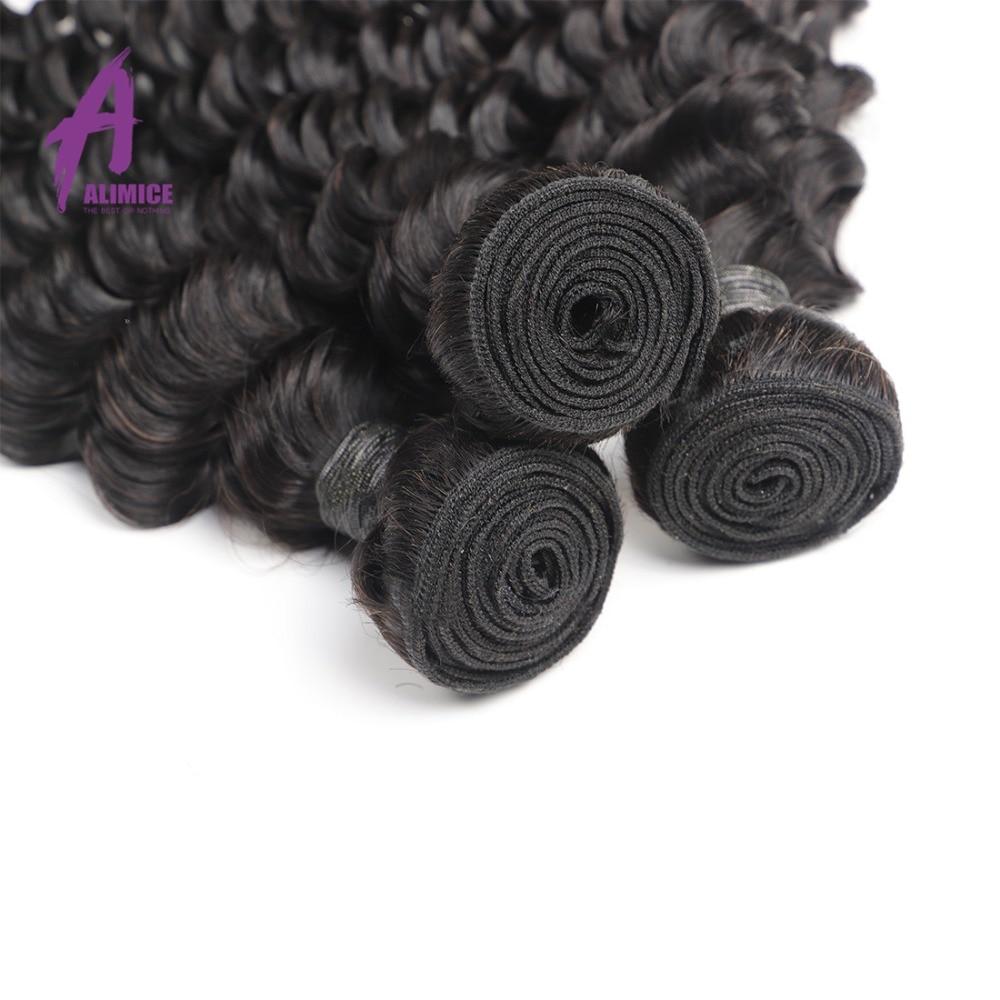Alimice Peruaanse Haarbundels Diepe Golf Human Hair Extensions 100% - Mensenhaar (voor zwart) - Foto 3