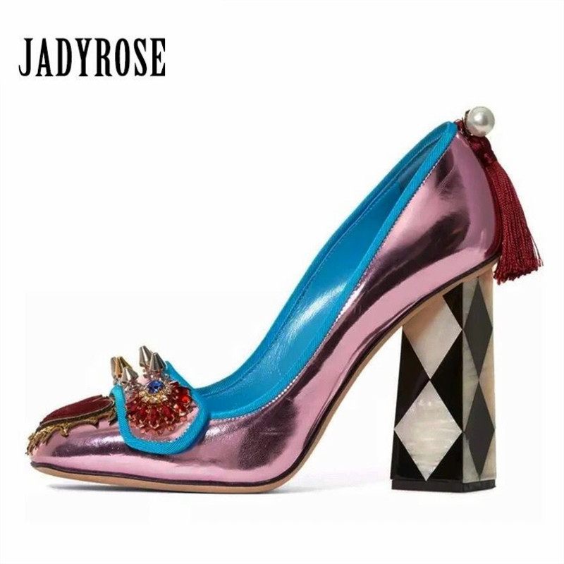 Jady Rose 2018 New Design Women High Heels Square Toe Rivets Studded Wedding Dress Shoes Woman Fringed Stiletto Valentine Shoes jady rose suede women ankle boots fringed lace up high heel shoes woman rivets studded platform pumps valentine shoes