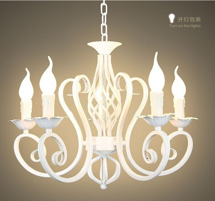 European fashion vintage chandelier ceiling lamp 6 candle lights european fashion vintage chandelier ceiling lamp 6 candle lights lighting iron blackwhite lampshade fixtures e14 chandeliers in chandeliers from lights aloadofball Images