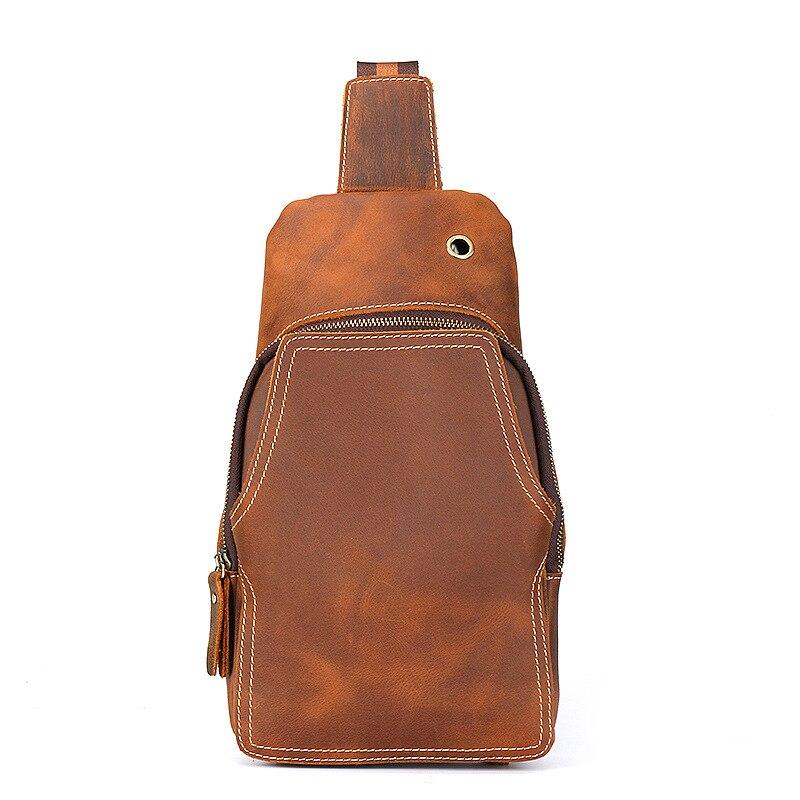 TIANHOO Genuine leather walking men bags vintage crazy horse leather chest bag back shoulder small stuff bicycle flap bag
