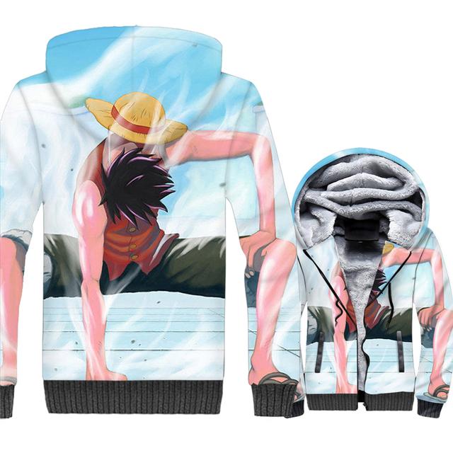 One Piece Winter Zip Up Hoodies