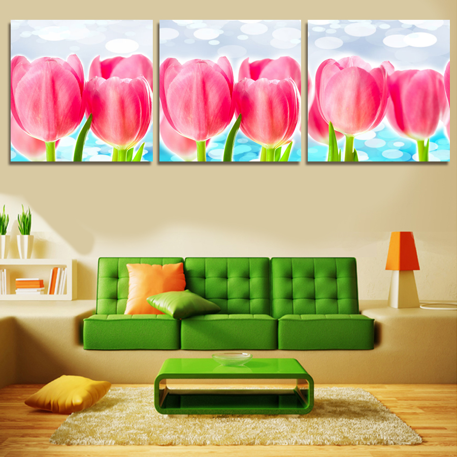 UnFramed 3 Pcs Large HD Beautiful Red Tulips Canvas Print Painting ...