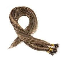 Moresoo 16-22 дюймов микро нано кольцо волосы для наращивания человеческие волосы коричневый#4 блики с#27 блонд предварительно скрепленные 50 прядей 40 г