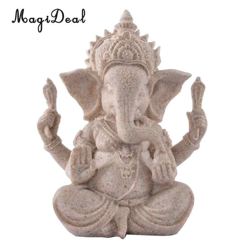 Vintage Art Home Decorative Sand Stone Hand Carved Elephant Sculpture Figurine Feng Shui Decors