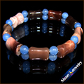 Wholesale 1pcs NATURAL PICASSO JASPER Blue Chalcedon STONE BEAD BRACELET STRETCH BANGLE Free shipping