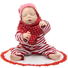 22 Inch Newborn Dolls Sleeping 55cm Full Silicone Vinyl Reborn Babies Christmas Gift New Year Gift