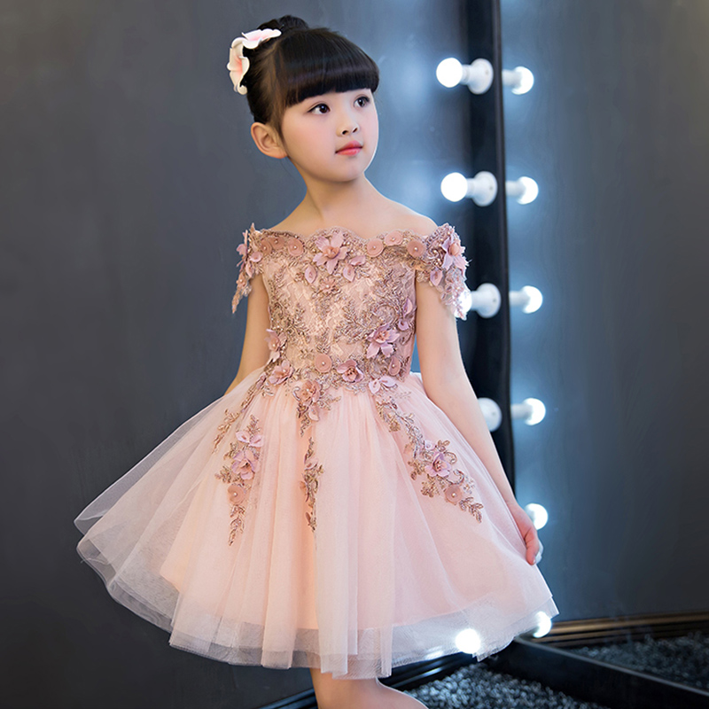New Arrival   Flower     Girl     Dress   Wedding   Dress   Appliques Ball Gown   Girls   Prom Party Real Picture Pink Princess Pagenat   Dress   IY67