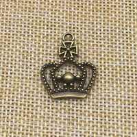 30 piezas corona encantos Color bronce antiguo DIY joyería fabricación de artesanías hechas a mano