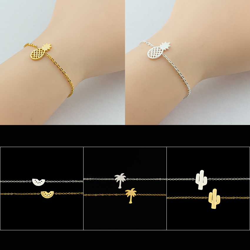 GORGEOUS TALE Summer Style Women Jewelry Stainless Steel Cactus Pineapple Watermelon Palm Tree Bracelet Gold Color Pulseras BFF