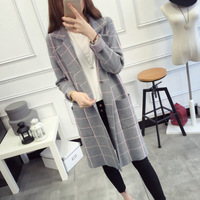 Autumn Fashion Turn down Collar Sweater Cardigans For Women Elegant Plaid Pocket Knitted Gary Knitwear Sweaters Outfit Jackets