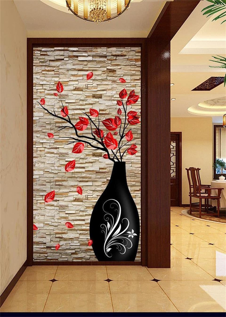 US $15.49 49% OFF|3d foto wallpaper benutzerdefinierten wandbild wohnzimmer  veranda vasen ziegel wand blume 3d malerei bild wandbilder wallpaper für ...