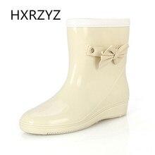 Femmes de printemps et automne nouveau arc pente avec bottes en caoutchouc/livraison gratuite Dames bottes de travail et en caoutchouc pluie chaussures