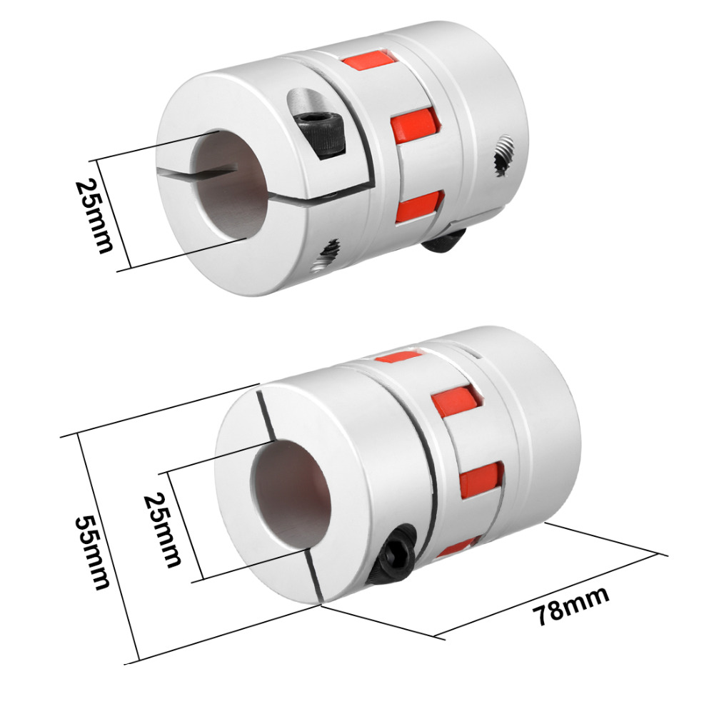 UXCELL New Arrival 1PCS L78xD55 Servo Stepped Motor M8 25 to 25mm Shaft Coupling Bore Flexible Coupler Joint Wear Resistant uxcell hot sale 1pcs l55xd40 servo stepped motor m6 12mm to 19mm shaft coupling bore flexible coupler joint wear resistant