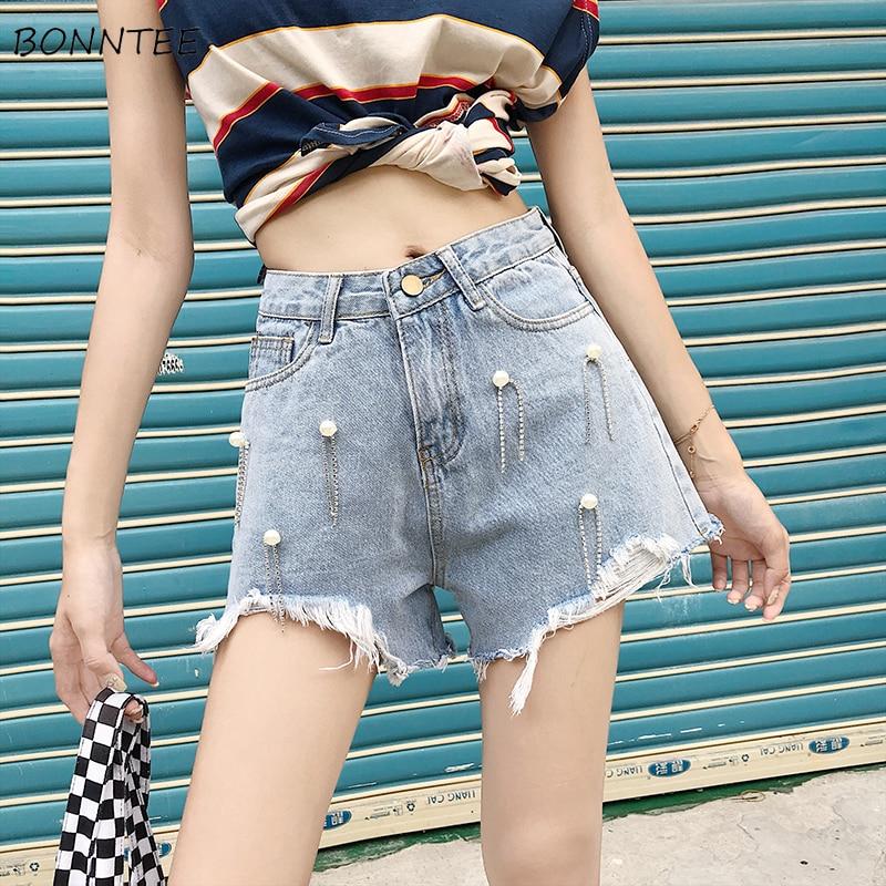 Shorts Women 2019 Fashion Trendy Irregular Tassel Edging Korean Womens High Pearls Slim Graceful Ladies Chic Denim Short Leisure