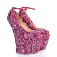 ร้อนขายเซ็กซี่r hinestoneประดับส้นเท้าp eepประกายคริสตัลแพลตฟอร์มรองเท้าส้นสูงสีชมพูข้อ
