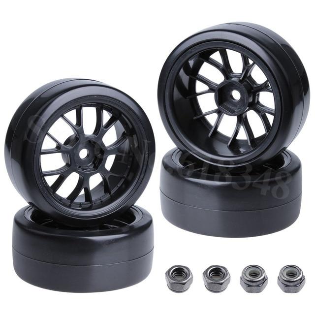 4 Pieces Smooth Plastic Rc Drift Tires Wheels Rims 12mm Hub Hex