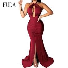 FUDA Sexy Backless Summer Dress Women Bodycon Nightclub Party Maxi Halter Floor Length Split Bandage Elegant Long Dresses