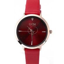 GEDI Mulheres Relógio de quartzo relógio de Pulso Elegante Relógios Retro Moda Senhoras Relógios de Quartzo Mulheres Relógio de Pulso de Couro Casual