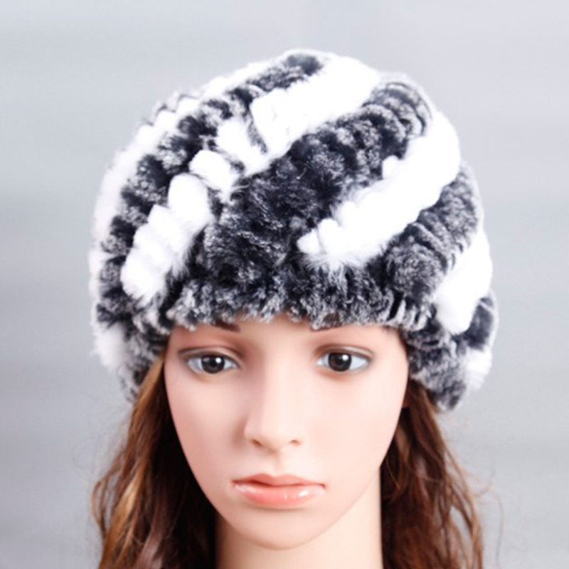 Winter Hat Women Genuine Knitted Rex Rabbit Fur Hats Natural Stripe Rex Rabbit Fur Caps lady