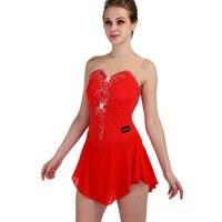 2019 custom color size ice skating dress woman kids girl adult red crystal custom figure skating dress woman girl