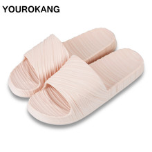 Summer Women Bathroom Slippers Pleated Antiskid Indoor Lady Home Slippers For Lovers EVA Couple Shoes Slides Dropshipping summer leisure slippers for lovers