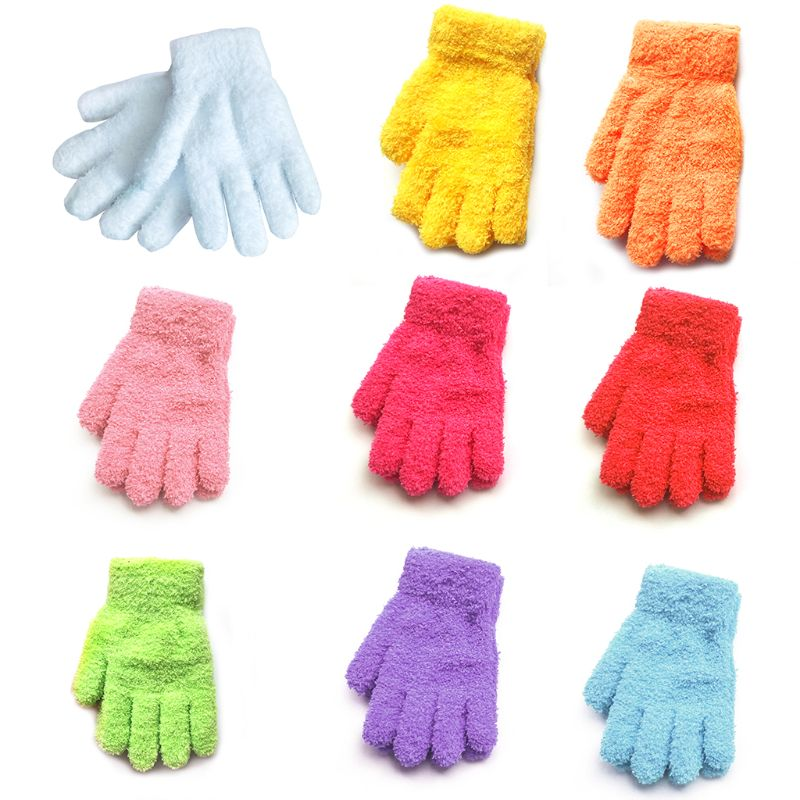 Child Toddler Kids Winter Thickened Coral Velvet Full Fingered Gloves Thermal Bright Sweet Candy Color Mittens Wrist Warm 3-10T