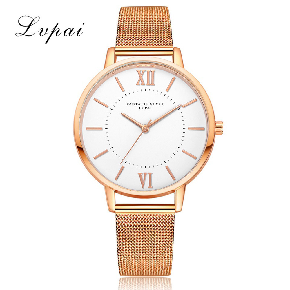 Lvpai Gold Silver Women Watches Luxury Bracelet Dress Watch Mesh Strap High Quality Ladies Quartz Watch Gift Clock Wristwatch S