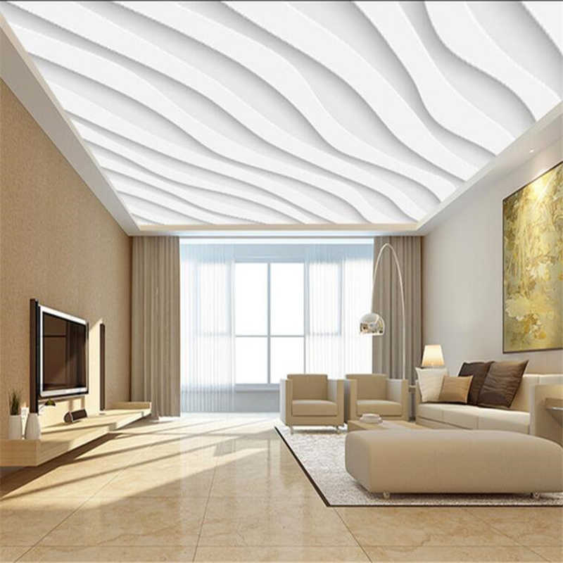 wellyu Custom Wallpaper 3d Photo Murals Vector Atmosphere Simple White Wave 3D Ceiling Living Room Decorative 3d wallpaper обои