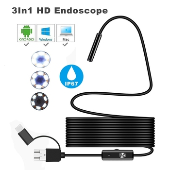 3in1 USB Endoscope Camera TypeC Inspection Endoscope Semi Rigid Cable Led Light Waterproof Mini Camera for Android Car Endoscope
