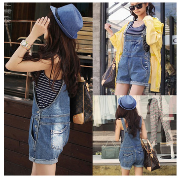 woman Overalls Jeans 2016 Summer Casual Loose Cute Denim Shorts Jumpsuits Student's Wear Denim Jumpsuits Shorts Plus Size S~xl