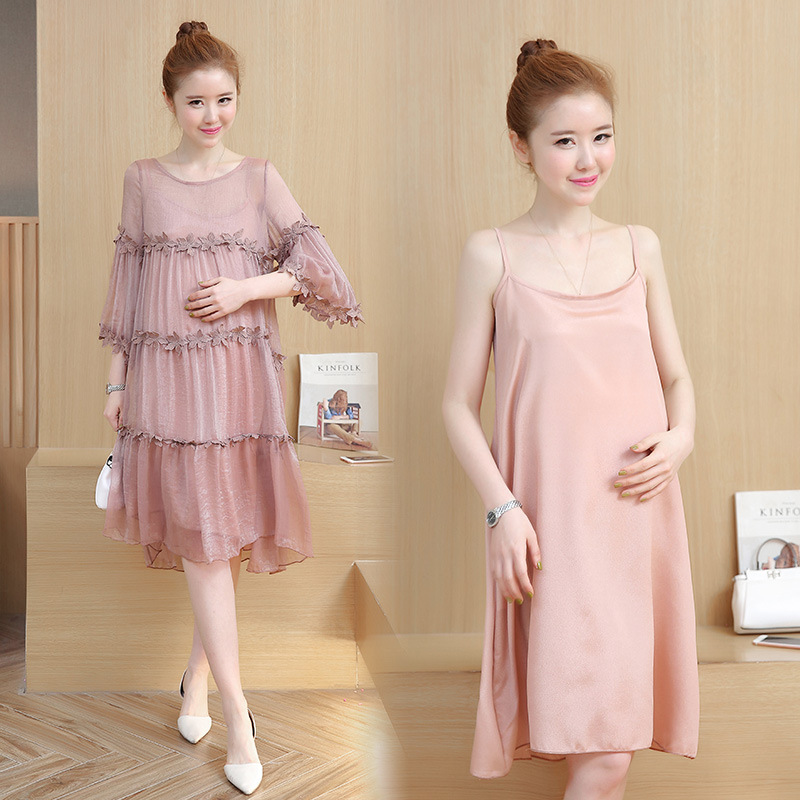 Envsoll 2018 Maternity Dress Maternity Clothing Two-piece O-neck Lace Dresses Pregnancy Clothes For Pregnant Women Dress fashionable plunging neck lace panelled tank dress for women