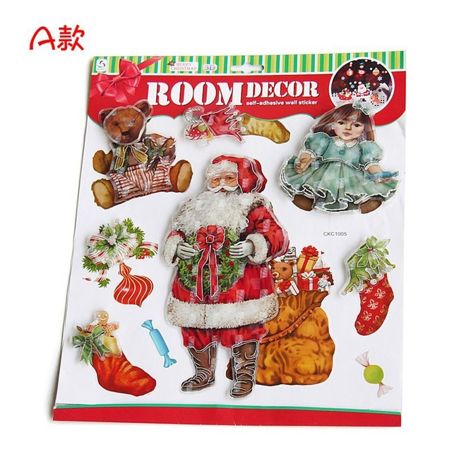Hot 36x30cm Large Christmas Decorations Glass Window Wall Stickers Double Layers Santa Claus Xmas Decoration Craft