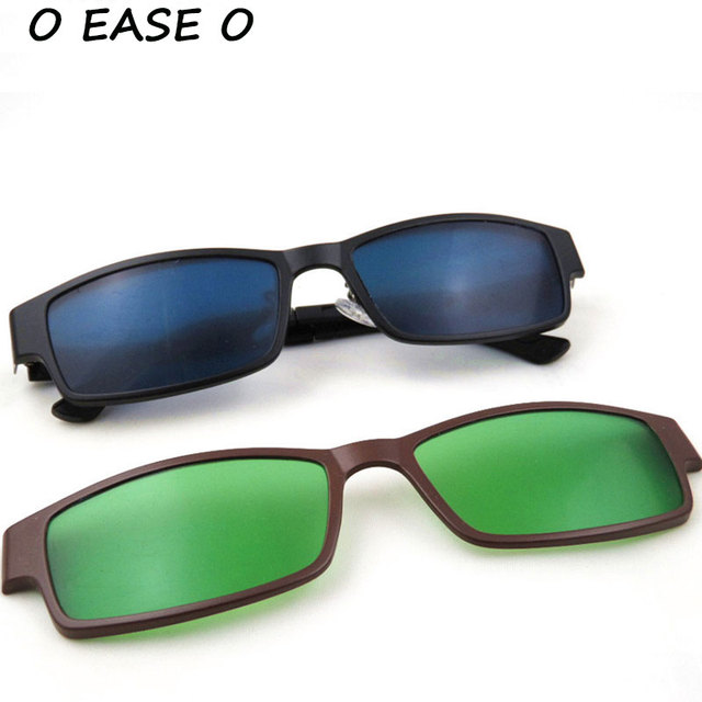 Unisexe Gris Objectif Pont Metal Single Clip On lunettes de soleil polarisées 8JPdqak