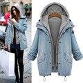 Invierno de moda Denim abrigos con capucha chaquetas mujeres 2 unidades de gran tamaño Coat bolsillo de la cremallera botón abrigo con capucha abrigos M-4XL