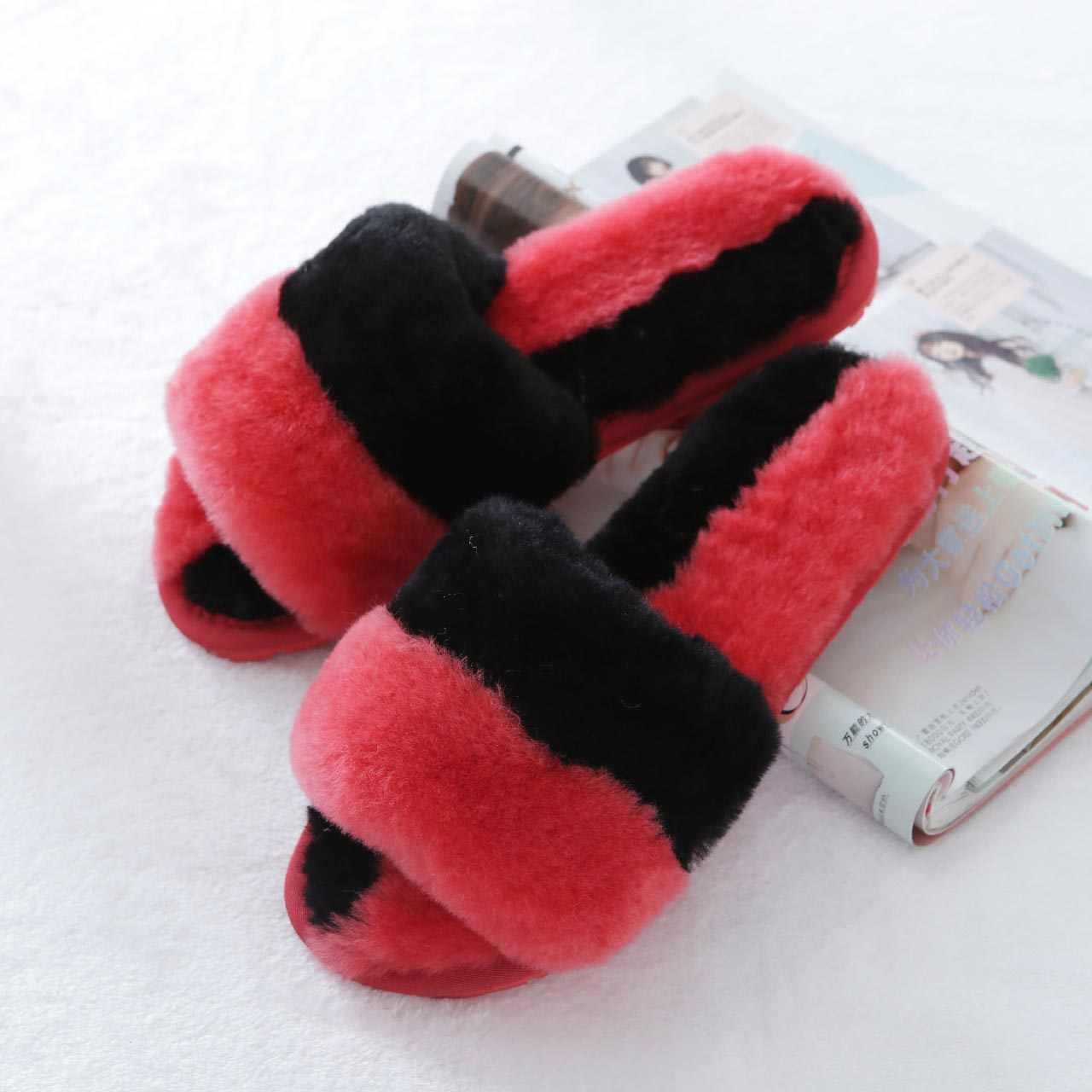 אופנה חם צמר טבעי פרווה בית נעלי בית מיזוג אוויר חדר מקורה כבש נעלי פרווה נעלי בית נעלי נשים