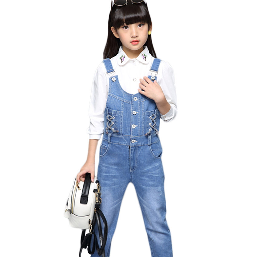 Denim Overalls for Girls Jeans Pants for Kids Jumpsuit Child Denim Trousers Baby Drawstring Overalls 8 9 12 Years Girls Overalls drawstring front cutout midriff tropical jumpsuit