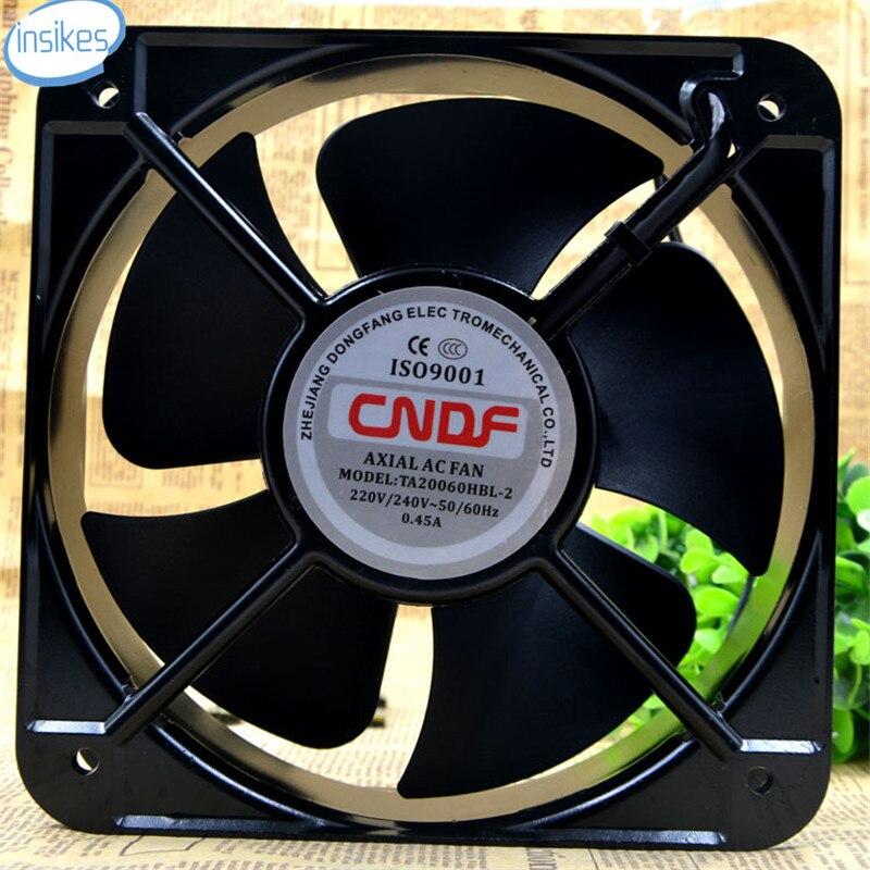 TA20060HBL-2 Industrial Fan Double Ball Blower Cooling Fan AC 220V 0.45A 20060 20cm 200*200*60mm 2 Wires 50/60HZ