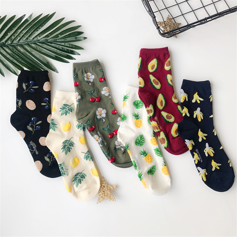 Women Cute Avocado Blueberry Banana Pineapple Lemon Orange Fruit Cotton Socks Funny Lovely Girls Jacquard Short Sock For Men