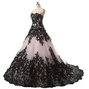 Image 3 - Ruthshen/бальное платье; Свадебные платья с милым черным кружевом с аппликацией и драпировкой; Robe De Mariee Manche Longue