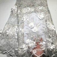 Белая вышитая бисером аппликация кружевная ткань высокого качества новейшее Африканское кружево 2019 благородная ручная работа 3D кружевная ...