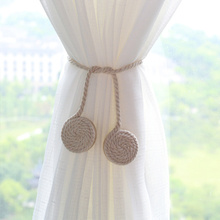 Wood+Magnet +Cotton rope Pastorale Round Wooden  Cotton Rope Curtains Tieback Magnet Holder Buckle Curtain Strap