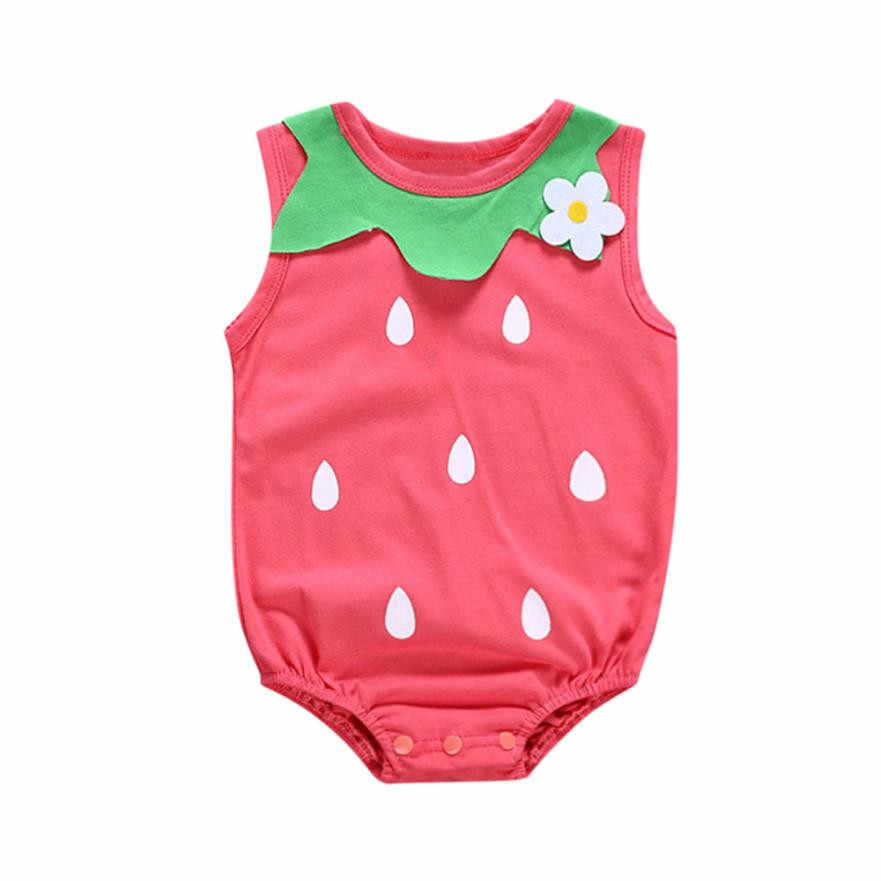 045df5d73215 2018 Toddler baby onesie funny Kid Gilr Romper Strawberry Floral Print  Sleeveless Jumpsuit Outfits 1st birthday